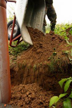 Lehm schaufeln rückwärts - nicht raus, sondern rein in die Grube!
